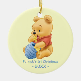 Pooh| Baby's First Christmas Add Your Name Round Ceramic Ornament