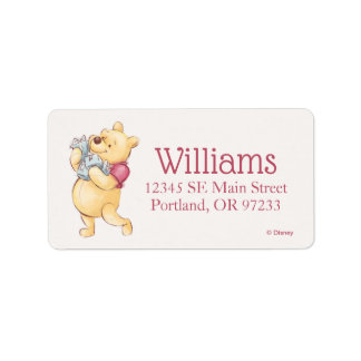 Pooh & Friends Watercolor   First Birthday Label