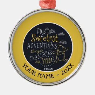 Pooh | My Sweetest Adventures Add Your Name Silver-Colored Round Ornament