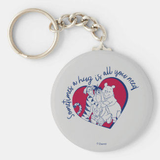 Pooh & Pals | A Hug is all You Need Quote Keychain