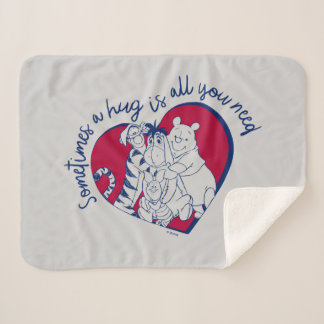Pooh & Pals | A Hug is all You Need Quote Sherpa Blanket
