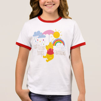 Pooh | Sun & Rain Brings Rainbows Quote Ringer T-Shirt
