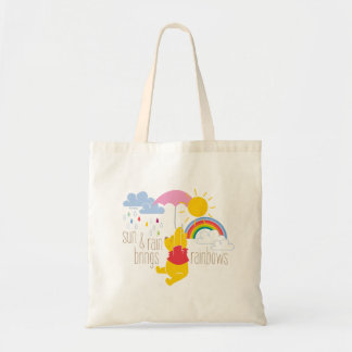 Pooh | Sun & Rain Brings Rainbows Quote Tote Bag