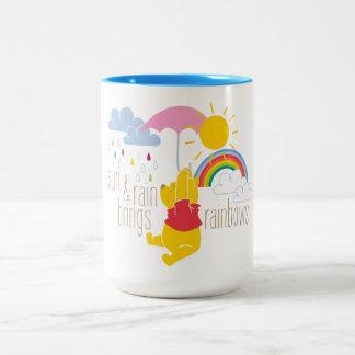 Pooh | Sun & Rain Brings Rainbows Quote Two-Tone Coffee Mug