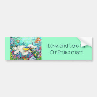 POOKY DIVE, I Love and Care for Our Environment Bumper Sticker