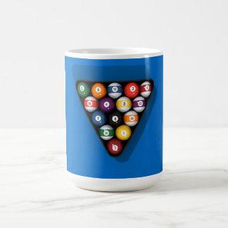 Pool Balls on Blue Felt Billiards Table: Coffee Mug