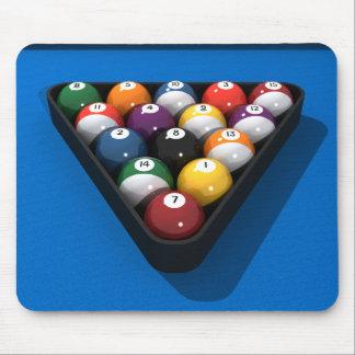 Pool Balls on Blue Felt: Mouse Pad