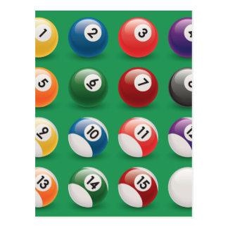 pool balls postcard