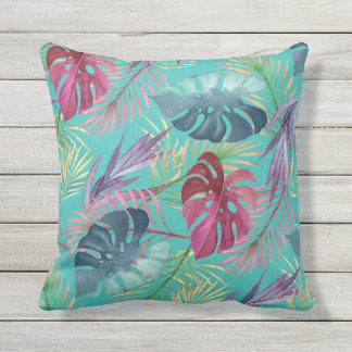 Pool Blue Tropical Jungle Botanical Pattern Outdoor Pillow