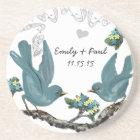 Pool Blue & Yellow Vintage Love Birds Coasters