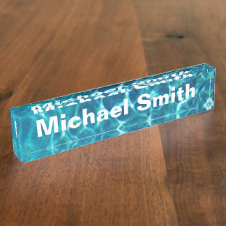 Pool Cool Blue Water Name Plate