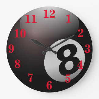 Pool Eight Ball Sports Large Clock