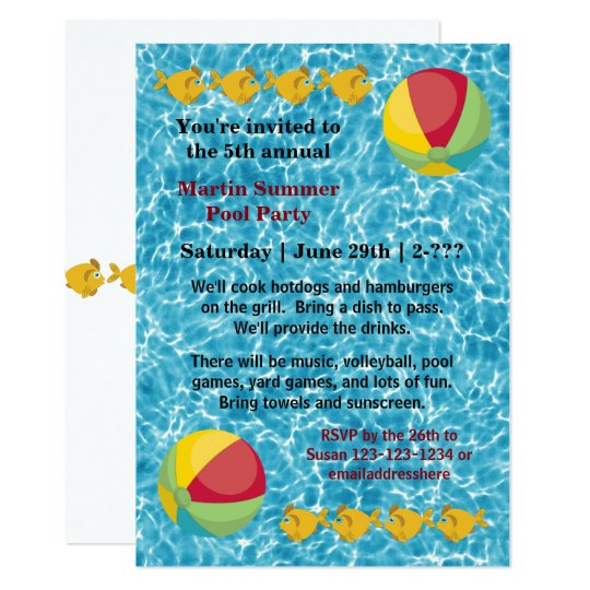Pool Fish Ball - Pool Party Invitation