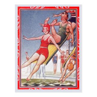 Pool Fun Vintage Postcard