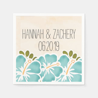 Pool Hibiscus Hawaiian Wedding Paper Napkins