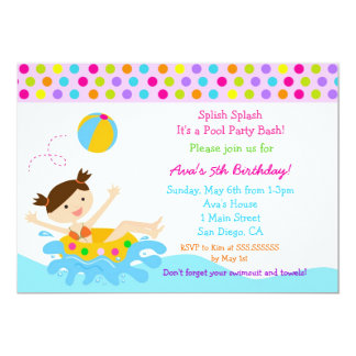 Pool Party Birthday Invitations