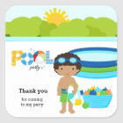 Pool party boy square sticker