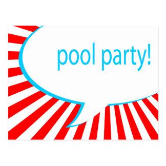 pool party! comic speech bubble postcard