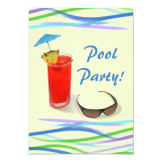 """Pool Party-Fun Cocktail/Blue+Yellow 5"""" X 7"""" Invitation Card"""