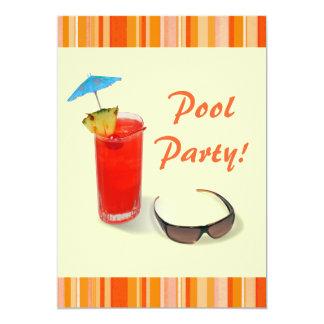 "Pool Party-Fun Cocktail/Orange+Yellow 5"" X 7"" Invitation Card"