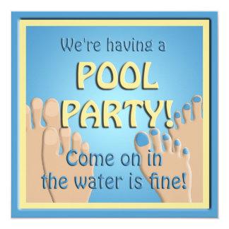Pool Party  Funny Feet Invitation