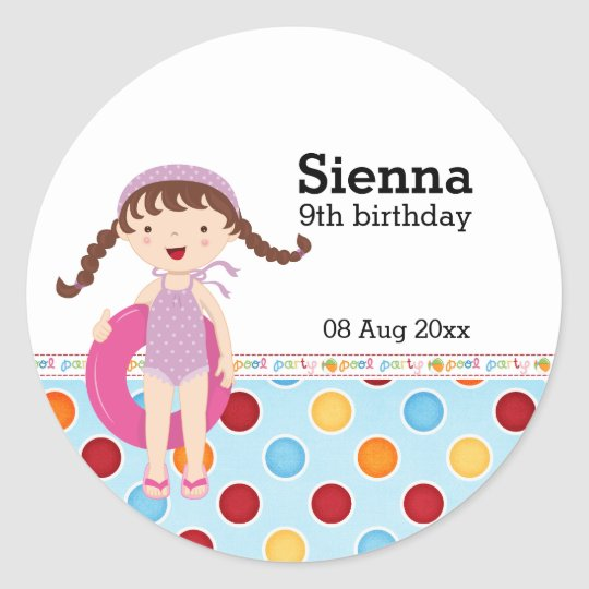 Pool Party (Girl) Classic Round Sticker
