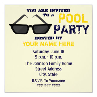 Pool Party Invitation - Black Sunglasses