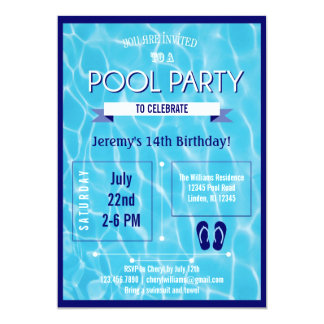 Pool Party Invitation Blue