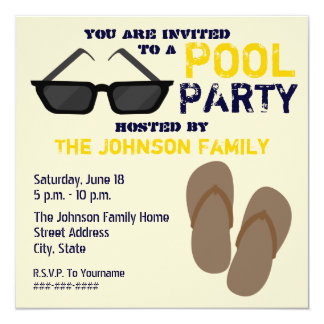 Pool Party Invitation Flip Flops & Sunglasses