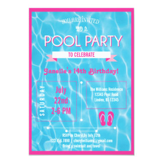 Pool Party Invitation Pink