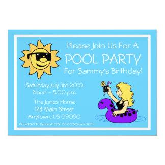 Pool Party Invitations (Female Purple Innertube)