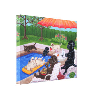 Pool Party Labradors 2 Painting Canvas Print