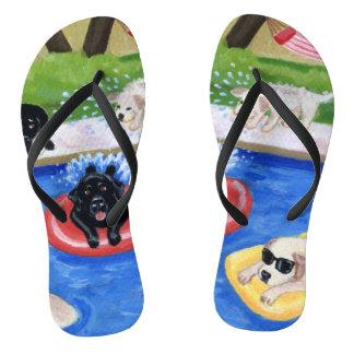 Pool Party Labradors Flip Flops