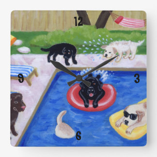Pool Party Labradors Painting Square Wall Clock