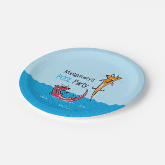 Pool Party Otter Splash Custom Name 7 Inch Paper Plate
