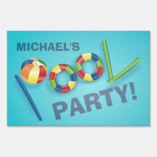 Pool Party Personalized Birthday Party Yard Sign