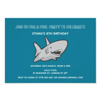 Pool Party Shark Birthday Invitation
