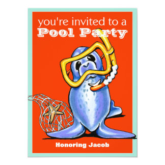 Pool Party Snorkel Seal Off-Leash Art™ Red Card