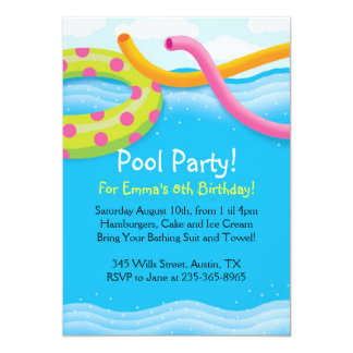 Pool Party Themed Invitations