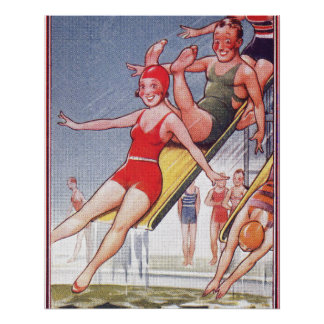 Pool Party Vintage Swimming Perfect Poster