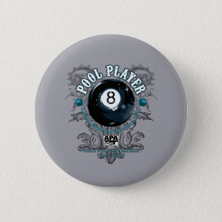 Pool Player Filigree 8-Ball 2 Inch Round Button