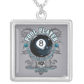 Pool Player Filigree 8-Ball Silver Plated Necklace