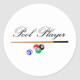 Pool Player Round Sticker