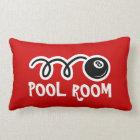 Pool room throw pillows with eightball print