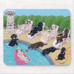 Pool Side Party Labradors Painting Mouse Pad