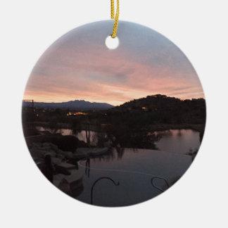 Pool Side Sunrise Ceramic Ornament