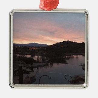 Pool Side Sunrise Metal Ornament