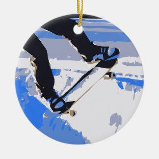 Pool Skating Skateboard Ceramic Ornament