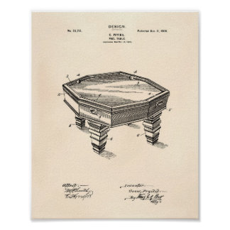Pool Table 1900 Patent Art Old Peper Poster