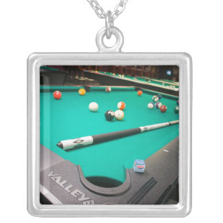 Pool Table Silver Plated Necklace
